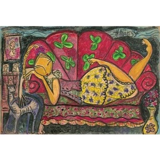 Matisse, 1938, Girl on Red Couch with Cat