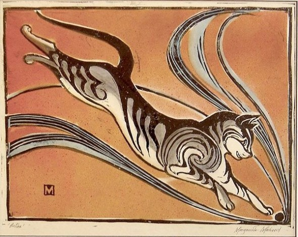 Mahood, Marguerite Henriette. 1901-89, cat, leaping cat, cats in art