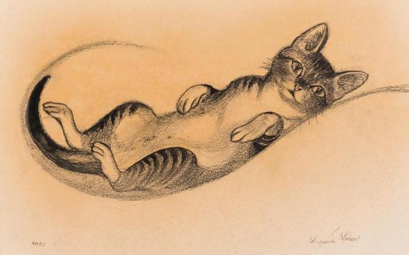Marguerite Mahood, cat lying down