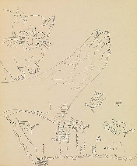 Andy Warhol, Foot and Cats Sketch, 1955