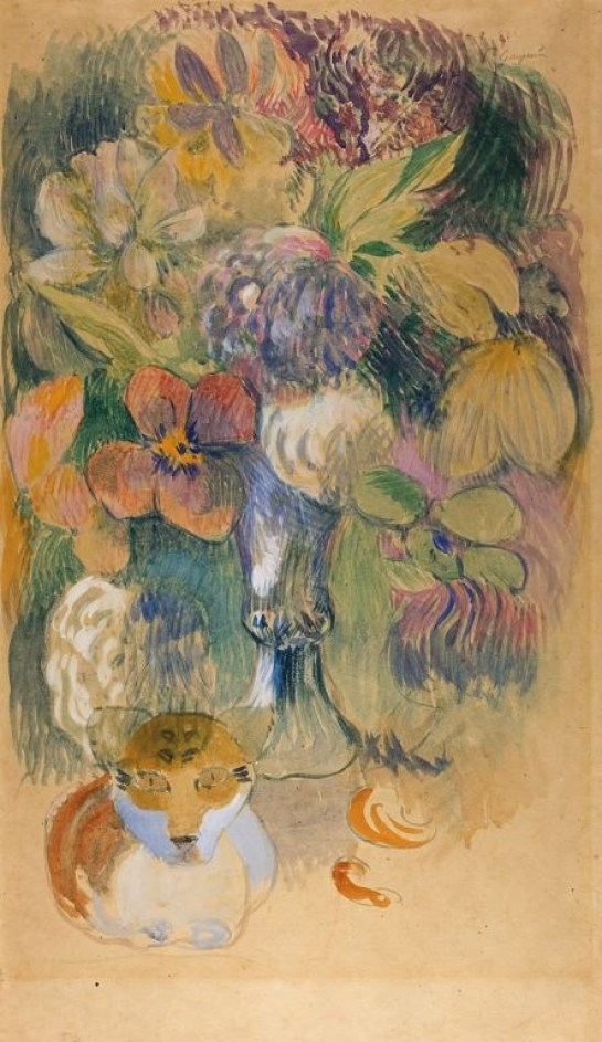 Still Life with Cat watercolor painting, c.1899 Paul Gauguin