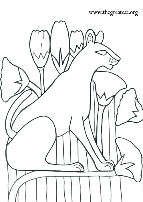 wild cat with lotus flowers ancient egyptian cats a coloring book - A Coloring Book