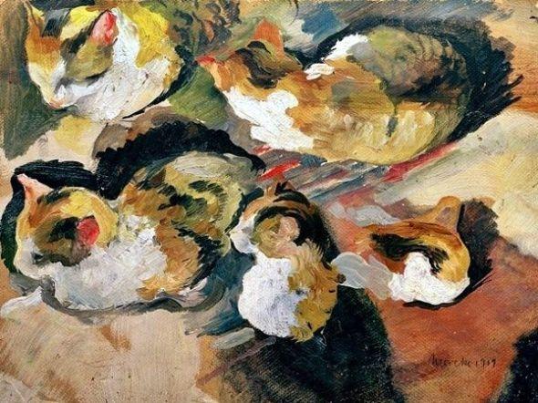 Cats Studies - August Macke German 1887-1914