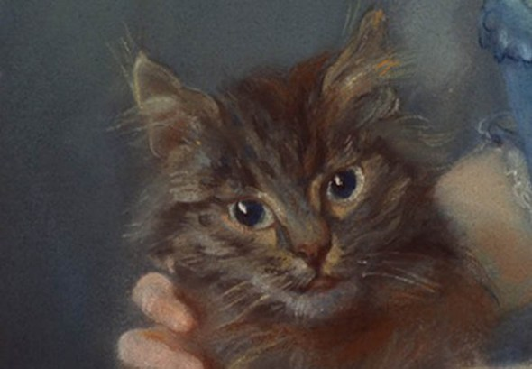 Jean-Baptiste Perronneau Girl with Kitten -detail, 1745