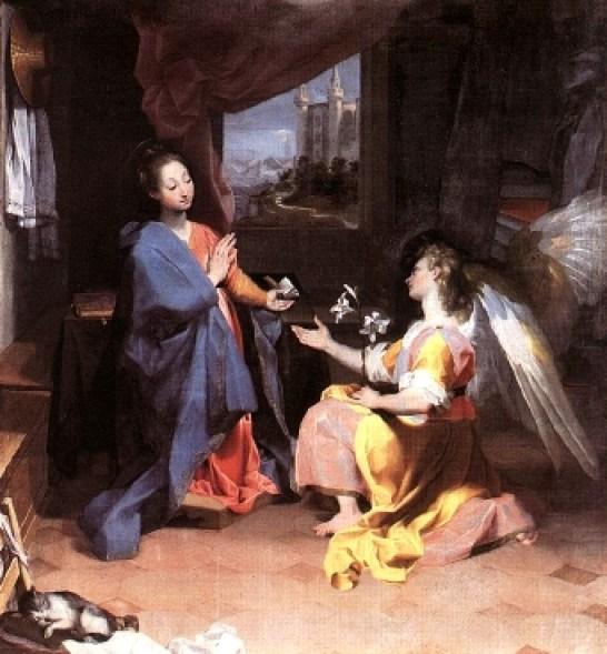 The Annunciation Oil on Canvas, Federico Barocci, cat art