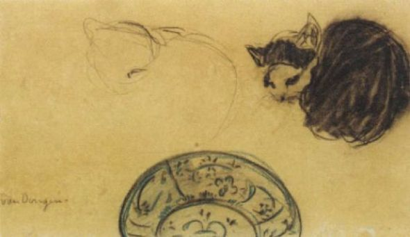 Cat drawing by Kees van Dongen (1877-1968) - Colored pencil and charcoa
