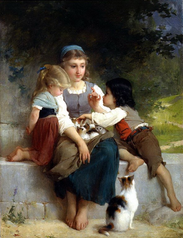 Three Children with Kittens, Emile Munier (French, 1840-1895)