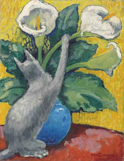 Kees van Dongen (Dutch, 1877-1968), Chat jouant avec des arums