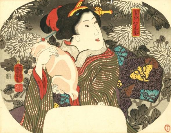 25 Chrysanthemums, Geisha and cat Utagawa Kuniyoshi