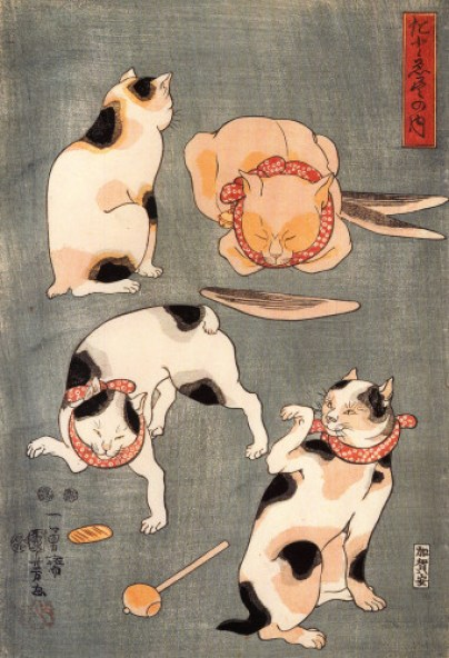 Kuniyoshi Utagawa Four Cats in Different Poses, Cats in Asian Art, Japanese cat art, Cats in Asian art