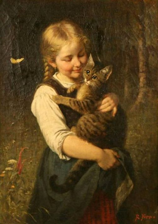 Rudolf Epp (1834 – 1910, German) - Girl with a Cat