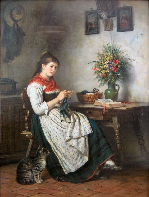 Rudolf Epp Strickendes Mädchen mit katze, girl sewing with cat