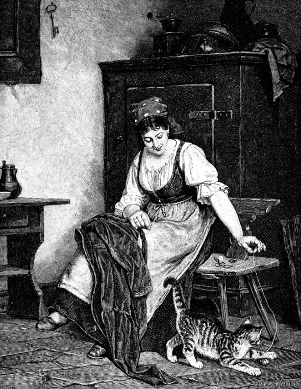 Rudolf Epp, Woman playing with cat