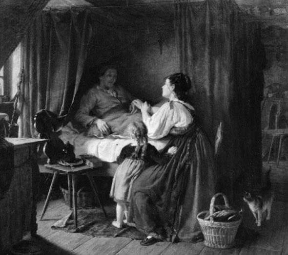 Rudolf Epp, the sick mother, Die Kranke Mutter, cats in art