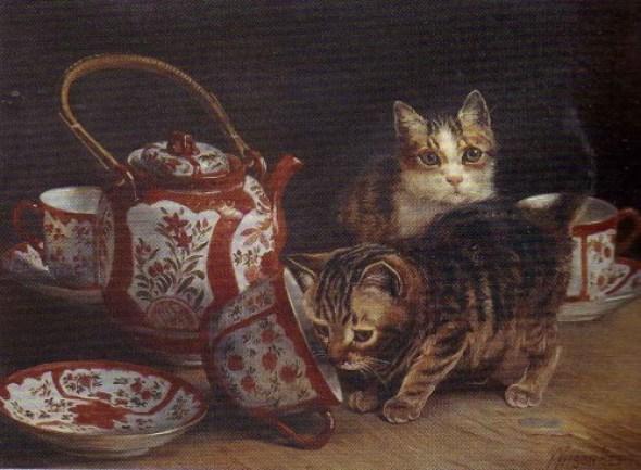 Two Kittens at Tea time- Wilson Hepple