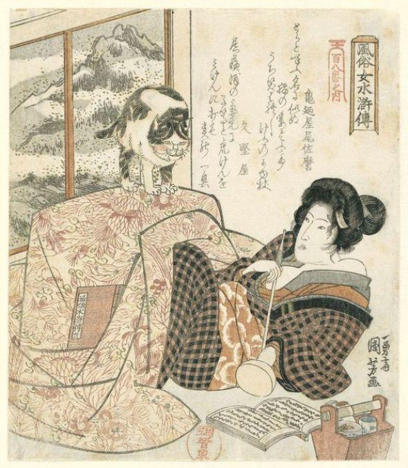 Utagawa Kuniyoshi, Kamenoya Osamaru, Hisakataya, 1832, cats in Japanese art
