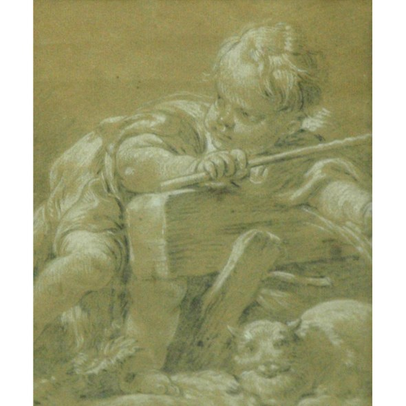 Attributed to Francois Boucher A Boy with a Cat