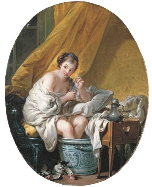 Francois Boucher, Young Woman Taking a Footbath with cat