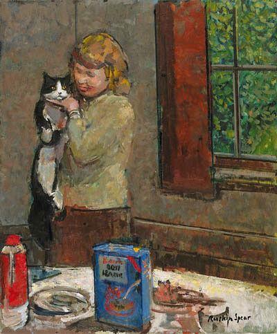 Au petit déjeuner... Ruskin Spear - Breakfast Cat - Mid 20th century