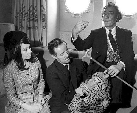 Dalí with his pet ocelot Babou in New York