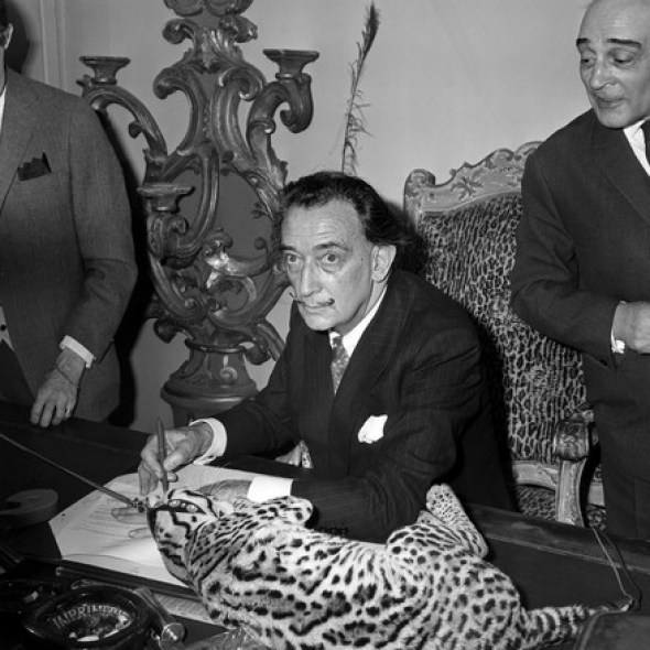 "Salvador Dali signs his book ""Lettre ouverte a Savador Dali"" as his Colombian ocelot Babou (or bambou) lies on the desk 1965"