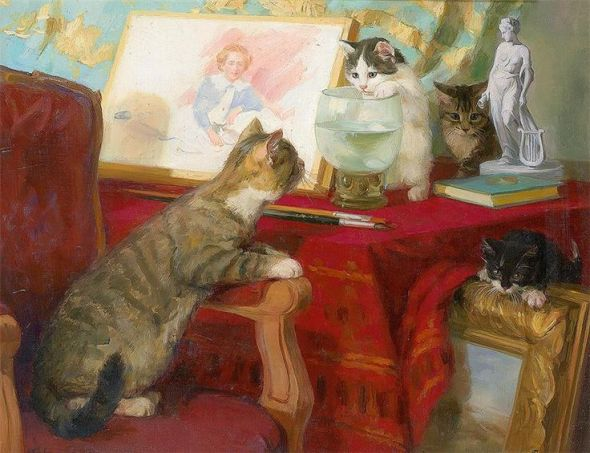 Four Kittens in a Studio, Agnes Augusta Talboys