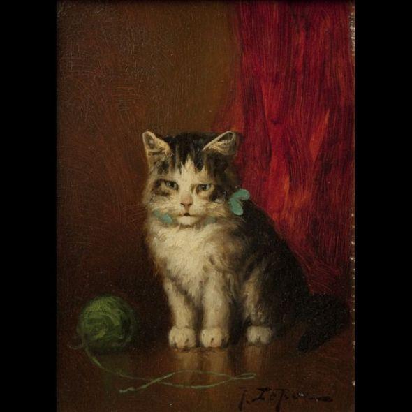 Jules Le Roy. Chat au ruban bleu et la pelote de laine verte (Cat with Blue Ribbon and Green Ball of Wool Yarn)