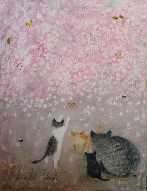 Kanoko Takeuchi, Cat and Kitten on purple