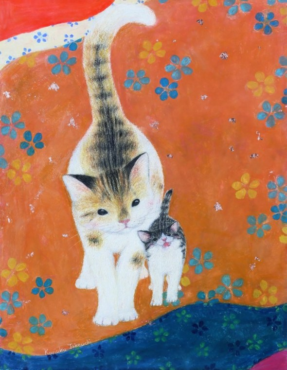 Kanoko Takeuchi, cat and kitten