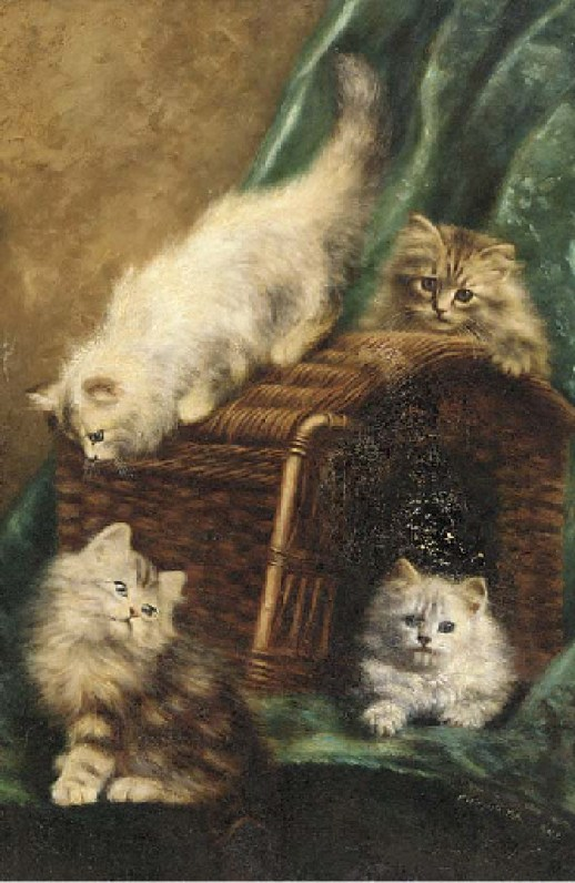 Kittens on a Basket, Agnes Aguusta Talboys 1908-1910 private collection