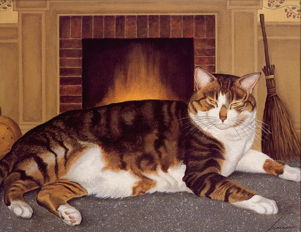 Cat by the Fire, Lowell Herrero