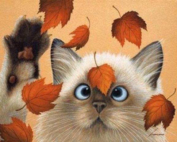 Cat and Leaves, Lowell Herrero