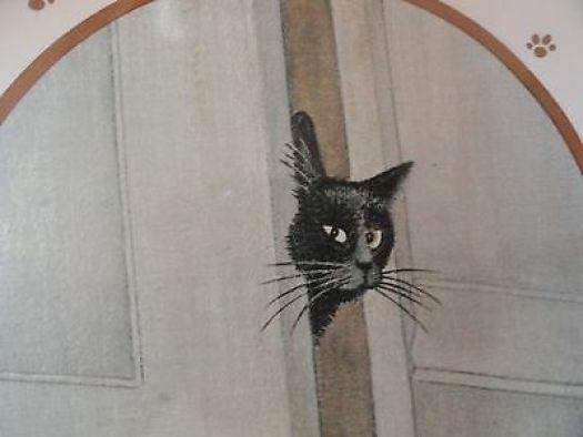 LOWELL HERRERO 1984 Black Cat in Door