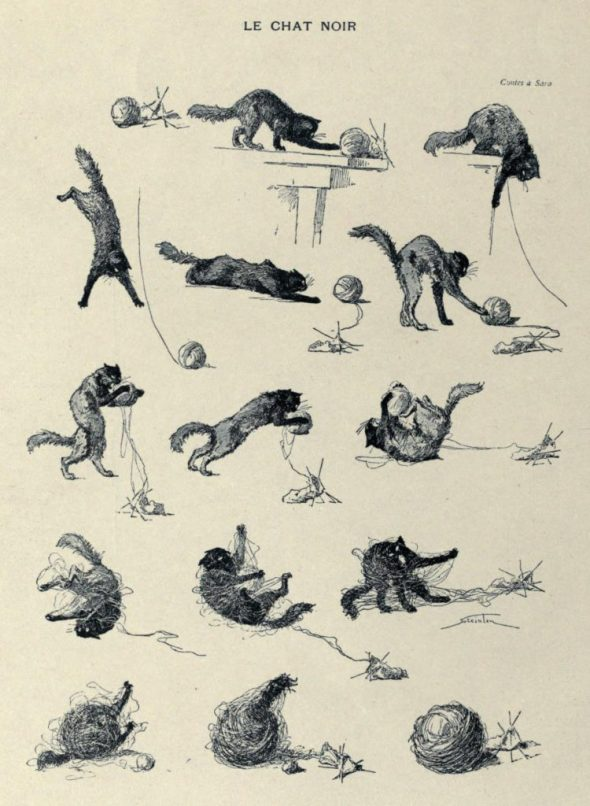 Le Chat Noir in various positions Theophile Steinlen