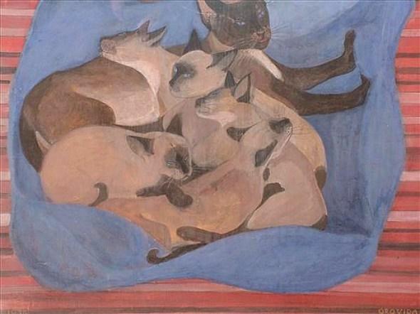 Orovida Camille Pissarro, Siamese Cat with Kittens 1934