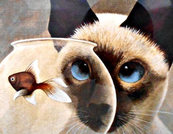 Siamese Cat and Fishbowl, Lowell Herrero