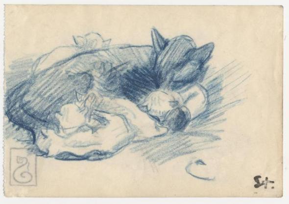 Sleeping cats, Theophile Steinlen