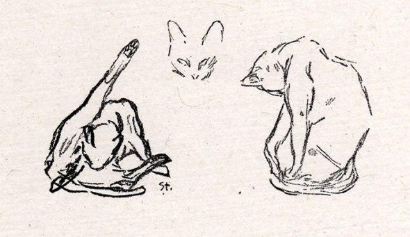 Three cat study, Theophile Steinlen