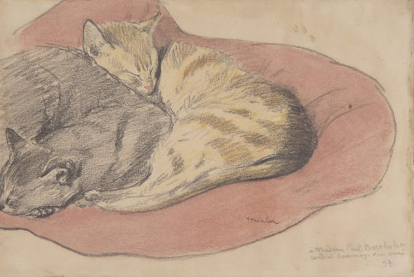 Two Cats on a Pillow, Theophile Steinlen