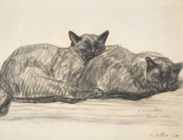 Two Siamese Cats Sleeping, 1920, Theophle Steinlen