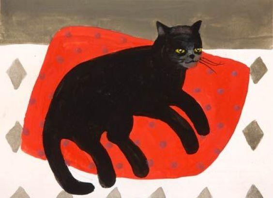 Black Cat on Cushion, Mary Fedden