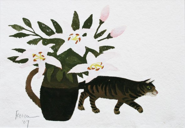 Still life with Cat and Flowers, Mary Fedden