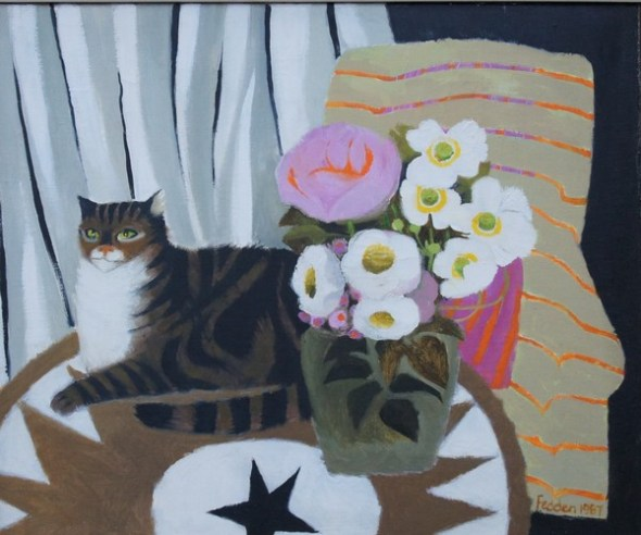 Tabby Cat and Floral Display, Mary Fedden-1915-2012