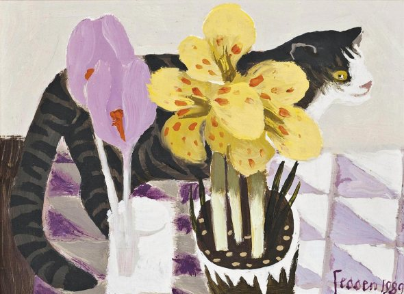 Tabby Cat with Flowers, 1989, Mary Fedden