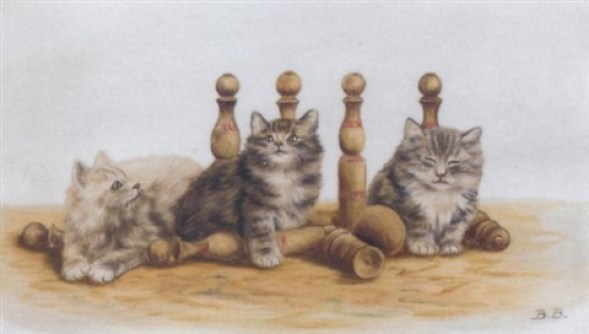 A Game of Skittles, Bessie Bamber, cat art