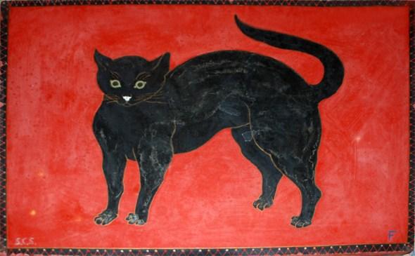 Black Cat on Red Stone, Foujita