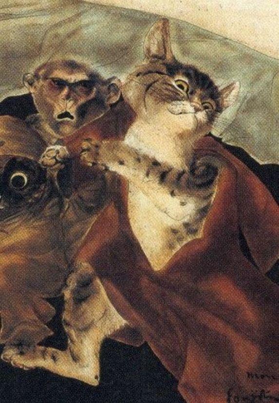 Cat and Monkey, Foujita, 1947