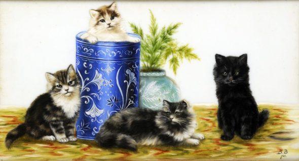 Four Kittens and Vases, Bessie Bamber