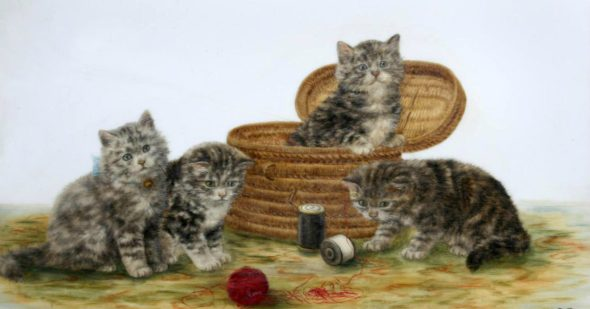 Four Tabby Kittens Playing, Bessie Bamber