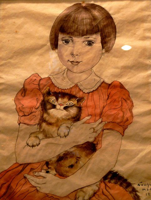 Girl Holding a Cat, Foujita